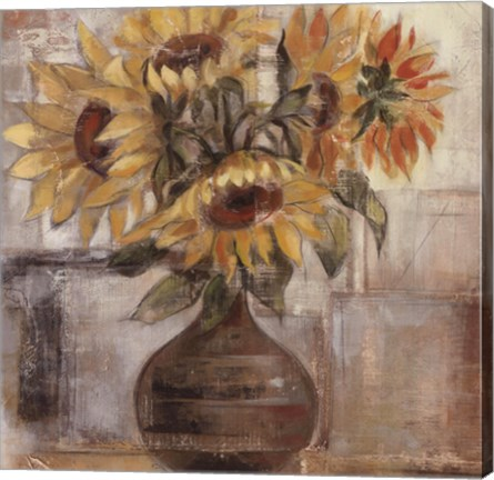 Framed Sunflowers In Bronze Vase Print