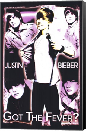 Framed Black Light - Justin Bieber Print