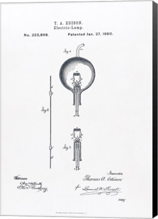 Framed Thomas Edison light bulb original patent drawing Print