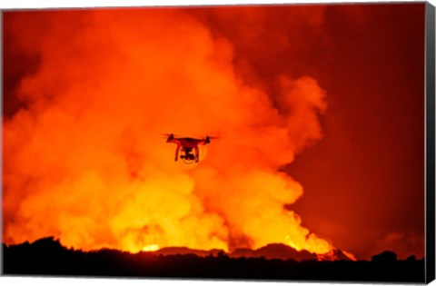 Framed Radio Contolled Drone flying over Eruption, Holuhraun Fissure, Bardarbunga Volcano, Iceland. Print