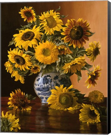 Framed Sunflowers in a Blue Willow Vase Print