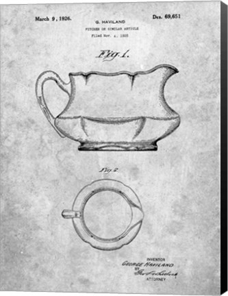 Framed Haviland Pitcher or Similar Article Patent Print