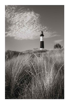 Framed Big Sable Point Lighthouse I BW Print