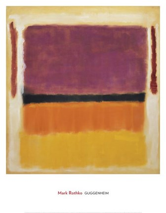 Framed Untitled (Violet, Black, Orange, Yellow on White and Red), 1949 Print