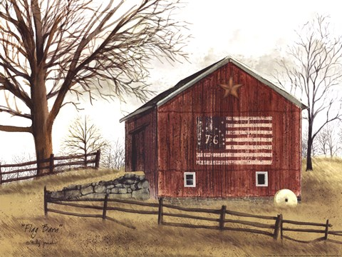 Framed Flag Barn Print