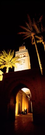 Framed Low angle view of a mosque lit up at night, Koutoubia Mosque, Marrakesh, Morocco Print