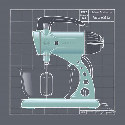 Framed Galaxy Mixer - Aqua Print