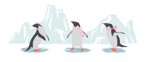 Framed Minimalist Penguin Trio, Girls Print