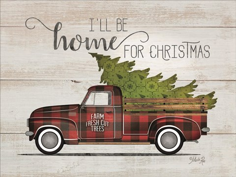 Framed Home for Christmas Vintage Truck Print