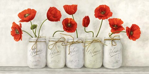 Framed Red Poppies in Mason Jars Print