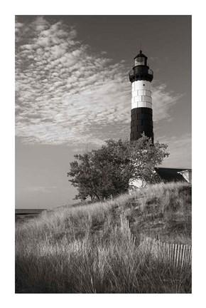 Framed Big Sable Point Lighthouse II BW Print