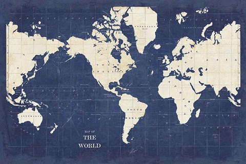 Framed Blueprint World Map - No Border Print