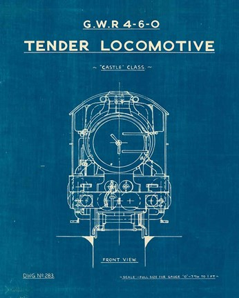 Framed Locomotive Blueprint II Print