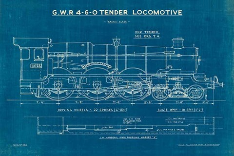 Framed Locomotive Blueprint I Print