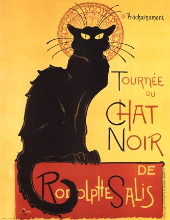 Framed Tournee du Chat Noir (Yellow Background) Print