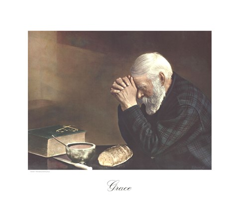 Framed Grace (Old Man Praying) Print