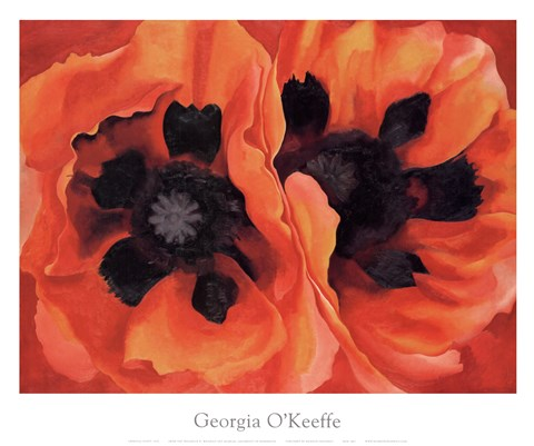 Framed Oriental Poppies, 1928 Print