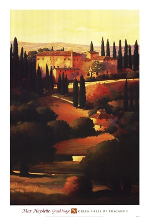 Framed Green Hills of Tuscany I Print