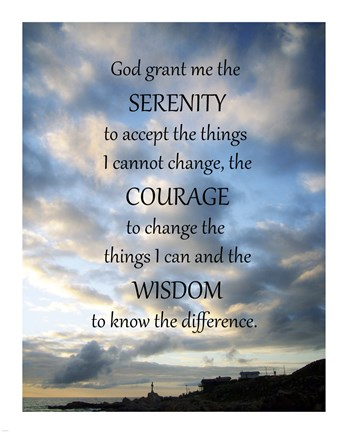 Framed Serenity Prayer - skies Print