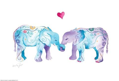 Framed Elephants in Love Print