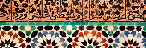 Framed Close-up of design on a wall, Ben Youssef Medrassa, Marrakesh, Morocco Print