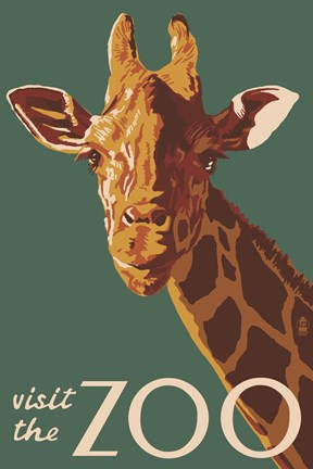 Framed Visite The Zoo Giraffe Print