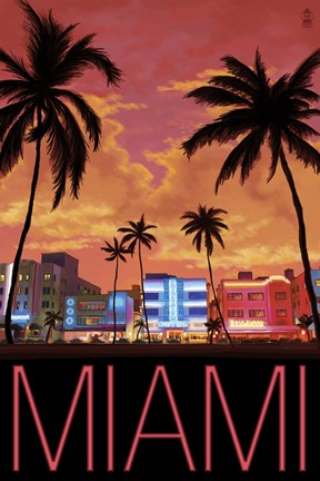 Framed Miami City Palms Scene Print