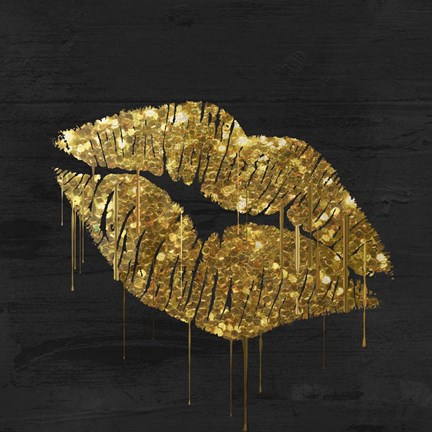 Framed Golden Lips Print