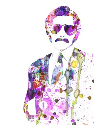 Framed Anchorman Watercolor 1 Print