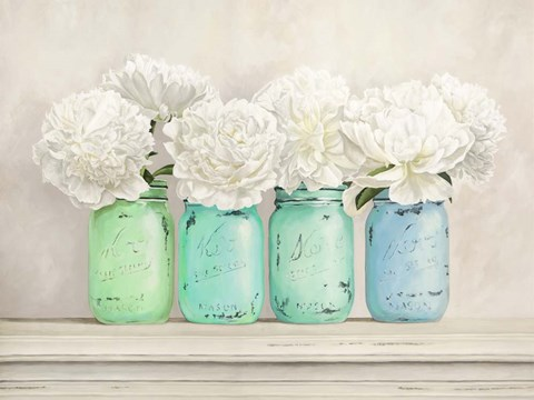 Framed Peonies in Mason Jars Print