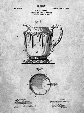 Framed Pitcher or Similar Article Patent Print