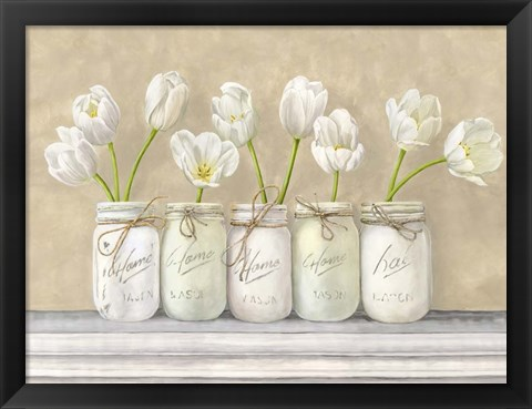 Framed White Tulips in Mason Jars Print