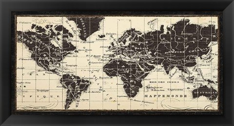 Framed Old World Map Parchment Print