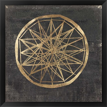 Framed Golden Wheel III Print