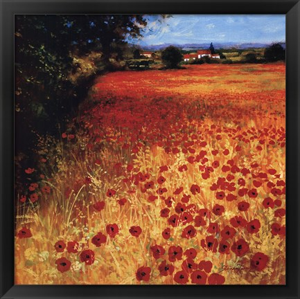 Framed Field Of Red And Gold Print