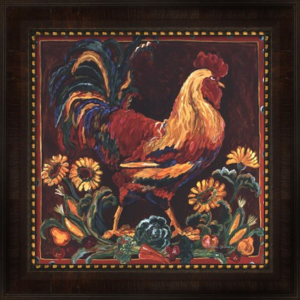Framed Rooster Rustic Print