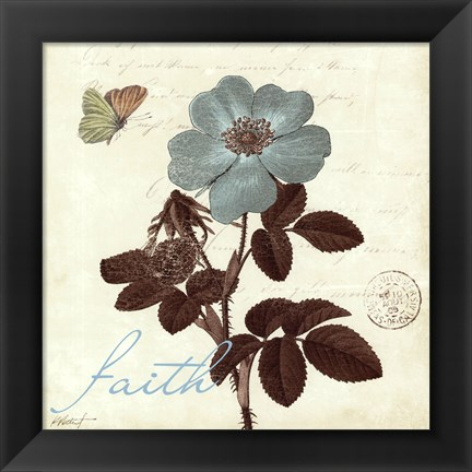 Framed Touch of Blue II- Faith Print
