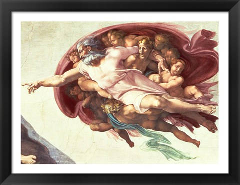 Framed Sistine Chapel Ceiling: The Creation of Adam, detail of God the Father, 1508-12 Print