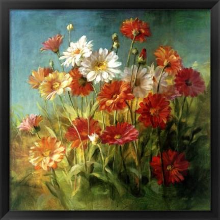 Framed Painted Daises Print