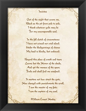 Framed Invictus Poem Print