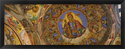 Framed Fresco on the ceiling of a monastery, Rila Monastery, Bulgaria Print