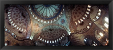 Framed Panoramic Images of a Blue Mosque, Istanbul, Turkey Print