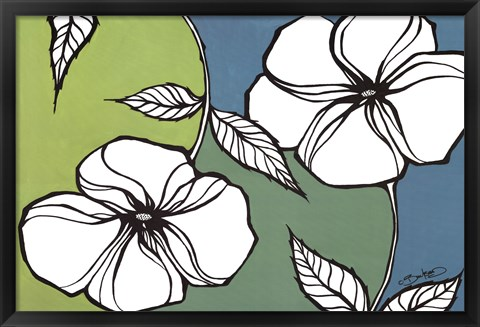 Framed Flowers in Unity - Teal Print