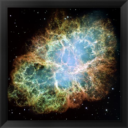 Framed Giant Hubble Mosaic of the Crab Nebula Print