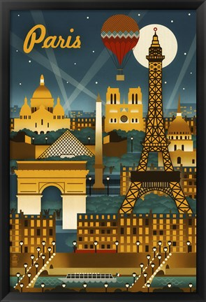 Framed Paris Evening And Balloon Print