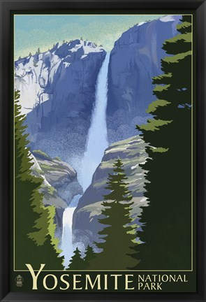 Framed Yosemite Mountains And Trees Print