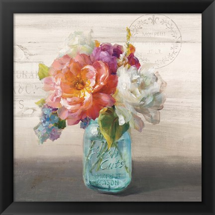 Framed French Cottage Bouquet I Print