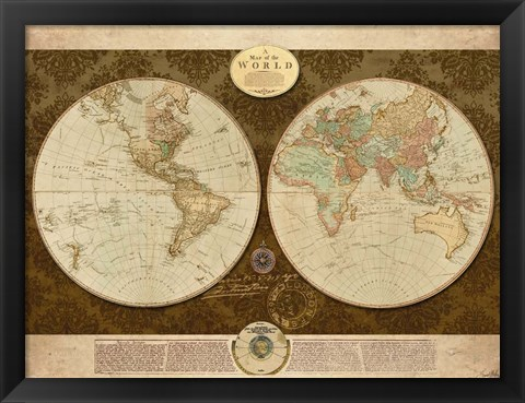 Framed Map of World Print