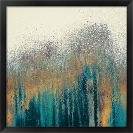 Framed Teal Woods with Gold Print