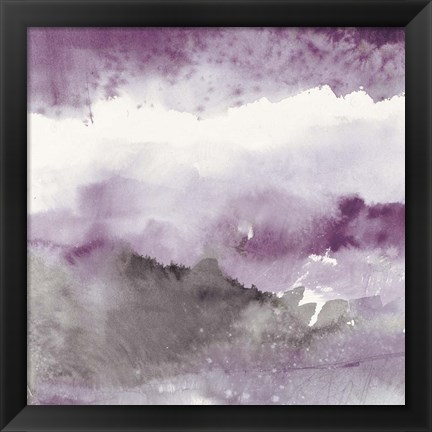 Framed Midnight at the Lake III Amethyst and Grey Print